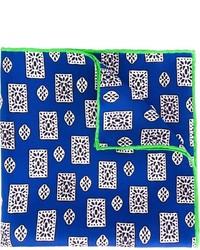 Pochette de costume en soie imprimée bleue Kiton