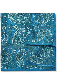 Pochette de costume en soie imprimée cachemire bleu canard Turnbull & Asser