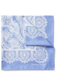Pochette de costume en soie imprimée cachemire bleu clair Turnbull & Asser