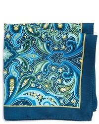 Pochette de costume en soie imprimée cachemire bleu marine
