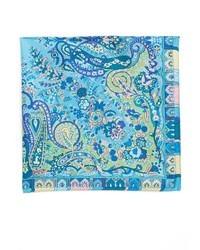 Pochette de costume en soie imprimée cachemire bleue