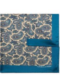 Pochette de costume en soie imprimée cachemire bleue Turnbull & Asser
