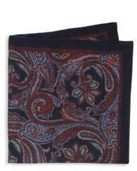 Pochette de costume en soie imprimée cachemire bordeaux