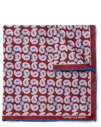 Pochette de costume en soie imprimée cachemire bordeaux Turnbull & Asser