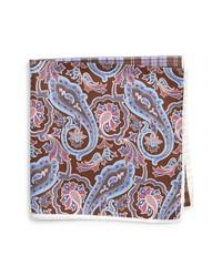 Pochette de costume en soie imprimée cachemire marron