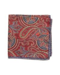 Pochette de costume en soie imprimée cachemire rouge