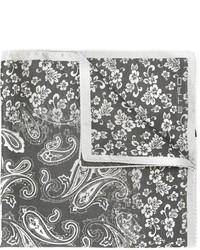Pochette de costume en soie imprimée grise foncée Etro