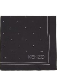Pochette de costume en soie imprimée noire Kenzo