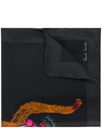 Pochette de costume en soie imprimée noire Paul Smith