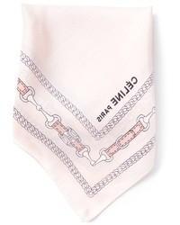 Pochette de costume en soie imprimée rose Celine