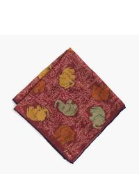 Pochette de costume en soie imprimée rouge