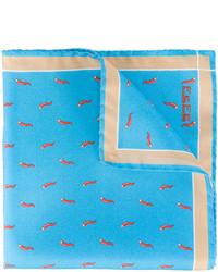 Pochette de costume en soie imprimée turquoise fe-fe