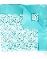 Pochette de costume en soie imprimée turquoise Kiton