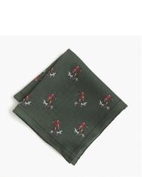 Pochette de costume en soie imprimée vert foncé