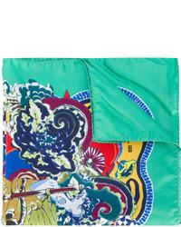 Pochette de costume en soie imprimée vert menthe Etro