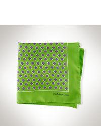 Pochette de costume en soie imprimée verte
