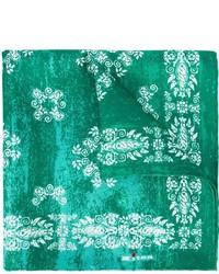 Pochette de costume en soie imprimée verte Kiton