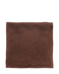 Pochette de costume en soie marron foncé
