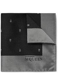 Pochette de costume en soie noire Alexander McQueen