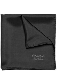 Pochette de costume en soie noire Charvet