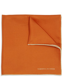 Pochette de costume en soie orange Turnbull & Asser