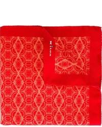 Pochette de costume en soie rouge Kiton