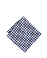 Pochette de costume en vichy blanc et bleu marine
