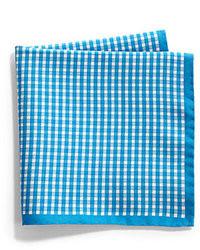 Pochette de costume en vichy bleue