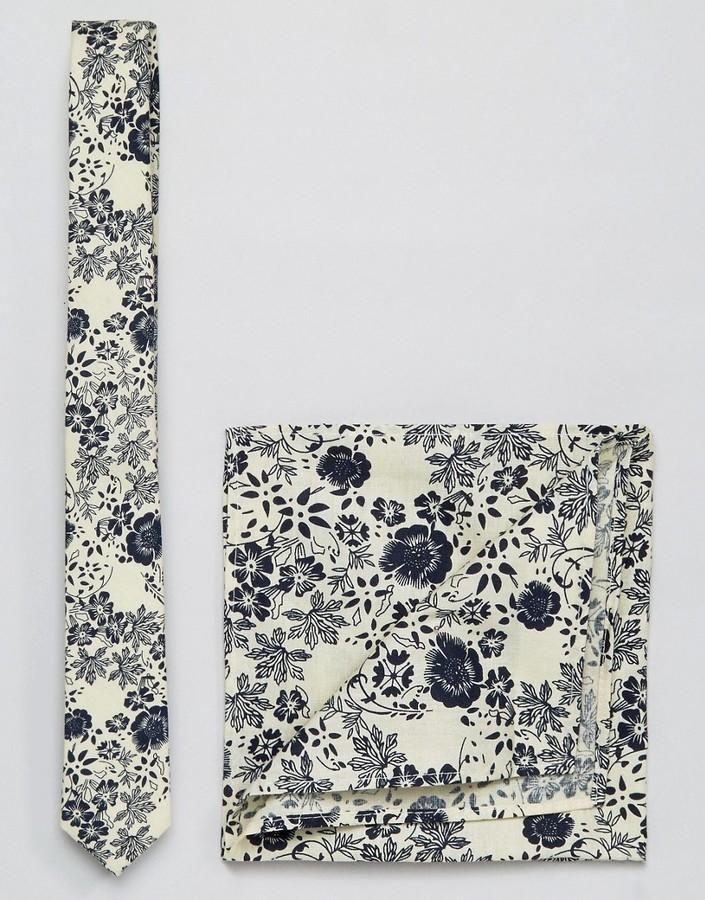 Pochette de costume imprimée beige Asos