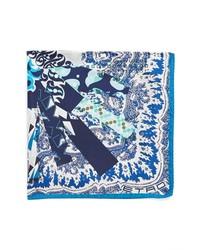 Pochette de costume imprimée blanc et bleu marine