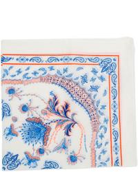 Pochette de costume imprimée blanc et bleu