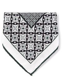 Pochette de costume imprimée blanche et noire Canali