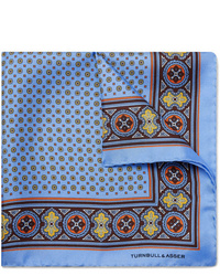 Pochette de costume imprimée bleu clair Turnbull & Asser