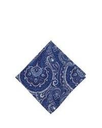Pochette de costume imprimée bleu marine et blanc