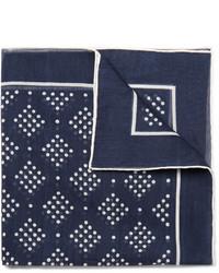 Pochette de costume imprimée bleu marine et blanc Drakes