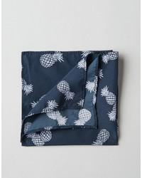 Pochette de costume imprimée bleu marine Asos