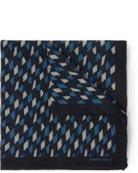 Pochette de costume imprimée bleu marine Boglioli
