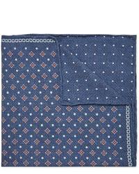 Pochette de costume imprimée bleu marine Brunello Cucinelli