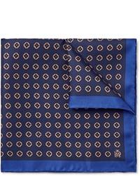 Pochette de costume imprimée bleu marine Dunhill