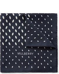 Pochette de costume imprimée bleu marine Mulberry