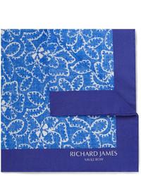 Pochette de costume imprimée bleu marine Richard James