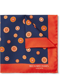 Pochette de costume imprimée bleu marine Richard James