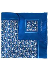 Pochette de costume imprimée bleue Salvatore Ferragamo