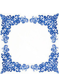 Pochette de costume imprimée cachemire blanc et bleu marine Alexander McQueen