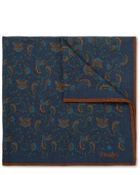 Pochette de costume imprimée cachemire bleu marine