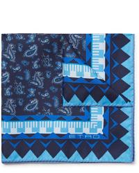 Pochette de costume imprimée cachemire bleu marine Etro