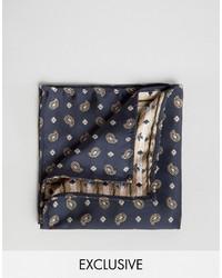 Pochette de costume imprimée cachemire bleu marine Reclaimed Vintage
