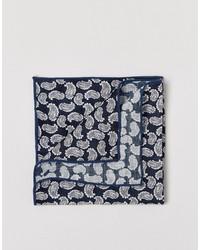 Pochette de costume imprimée cachemire bleu marine Selected