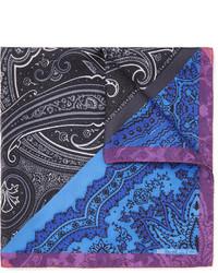Pochette de costume imprimée cachemire bleue Etro