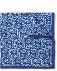 Pochette de costume imprimée cachemire bleue Turnbull & Asser